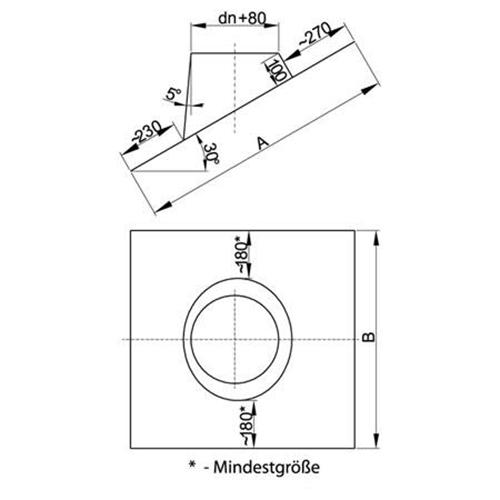 Schornstein Lochdurchmesser 210 mm Bleikragen MK sp Edelstahl gl/änzend Keine Farbe w/ählbar Edelstahl DW 130 Z o.o Dachdurchf/ührung 5/°-20/°